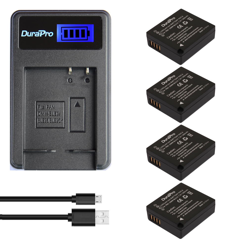 4pc DuraPro DMW-BLG10 DMW BLG10E BLG10 Camera Battery + LCD USB Charger for Panasonic Lumix DMC GF6 GX7 GF3 GF5 DMW BLE9 BLG10