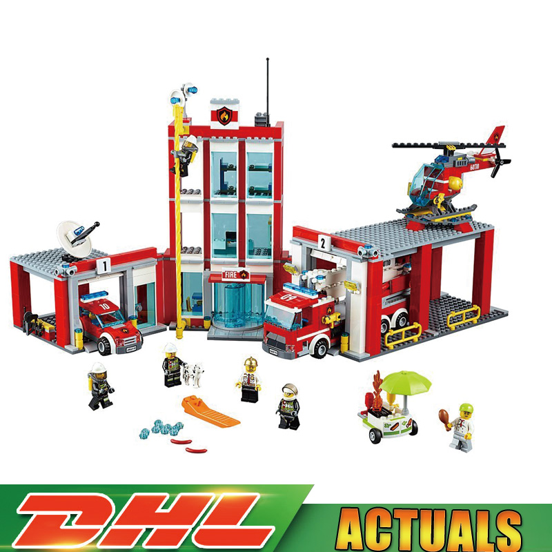 Lepin 02052 City Series The Fire Station Set Helicopter Compatible Legoings 60110 Building Blocks Bricks Educational Toys Gifts 1400pcs genuine city series the jungle air drop helicopter set compatible lepins building blocks bricks boys girls gifts