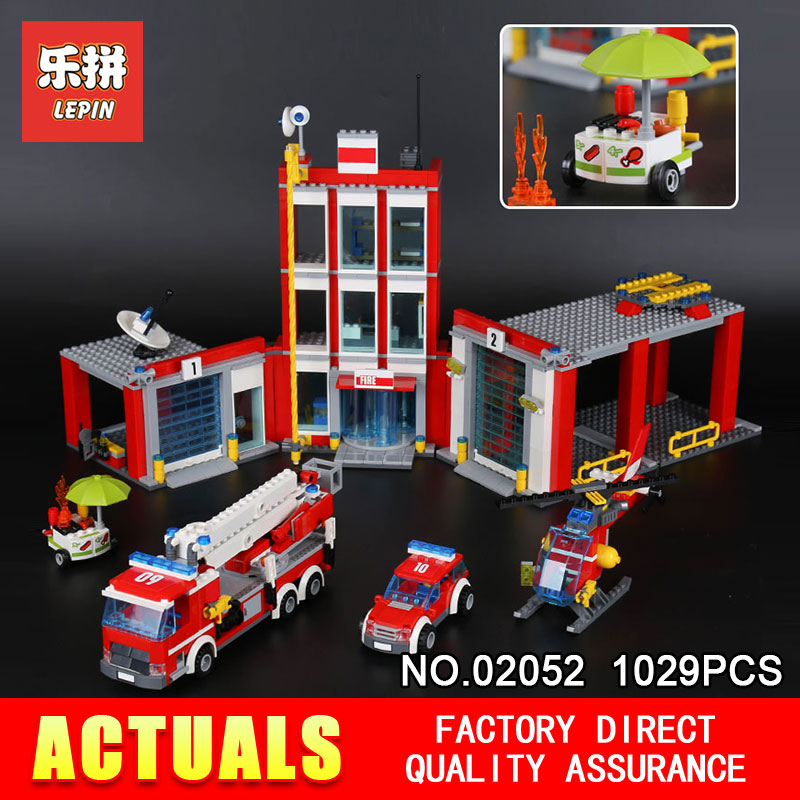Lepin 02052 1029Pcs Genuine City Series The Fire Set 60110 Building Blocks Bricks Educational DIY Toy Model for Children gifts a toy a dream lepin 02043 718pcs building blocks bricks new genuine city series airport terminal toys for children gifts