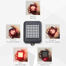 Bicycle Intelligent Turn Tail Light Signal Brake Projection Lamp LED Infrared Warning Accessories