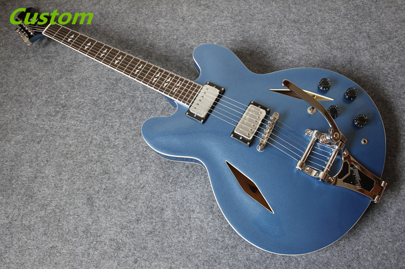 Top Selling Dave Grohl Signature ES 335 Electric Jazz Guitar With Bigsby Matte Blue Finish Guitarra From China Factory new arrival custom shop dave grohl electric guitar semi hollow body es 335 jazz guitar hollow electric guitar dg 335 veison