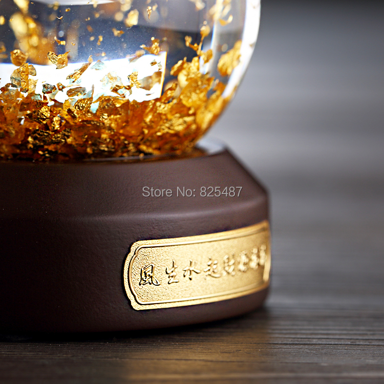 Luxury 24K Gold Flakes Snow Ball Glass Feng Shui Ball Best Wealthy Business Gift Taiwan Made Glass Globe With Gift Box - 5