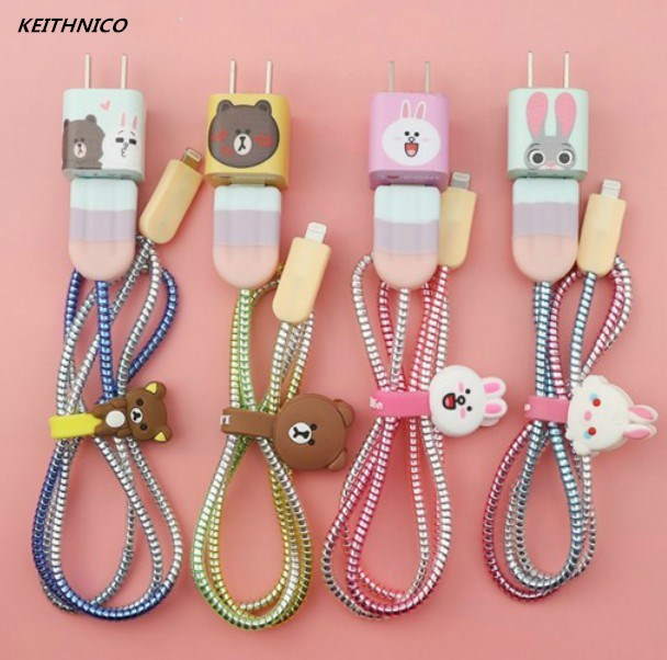 KEITHNICO 1 Set Cable Saver Protector Cable Winder USB Charging Data Earphone Line Organizer Wrap Charger Sticker For iPhone
