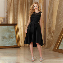 Cheap Chiffon Lace Short Wedding Party Gowns Black Bridesmaid Dresses Knee Length 2016 Maid Of Honor Dress BD49