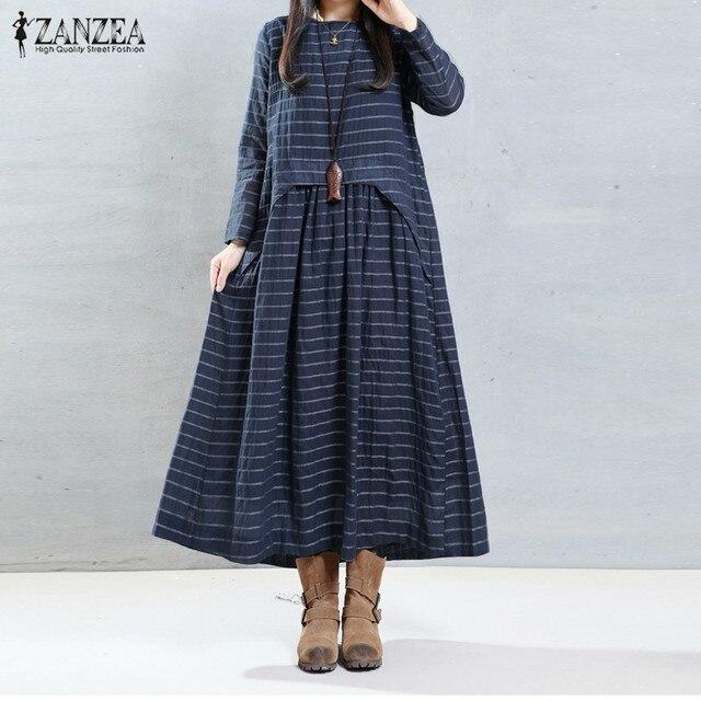 Fashion Autumn Dress 2017 ZANZEA Women Striped Print Dresses Long Sleeve O Neck Vintage  Loose Long Vestidos Plus Size S-5XL
