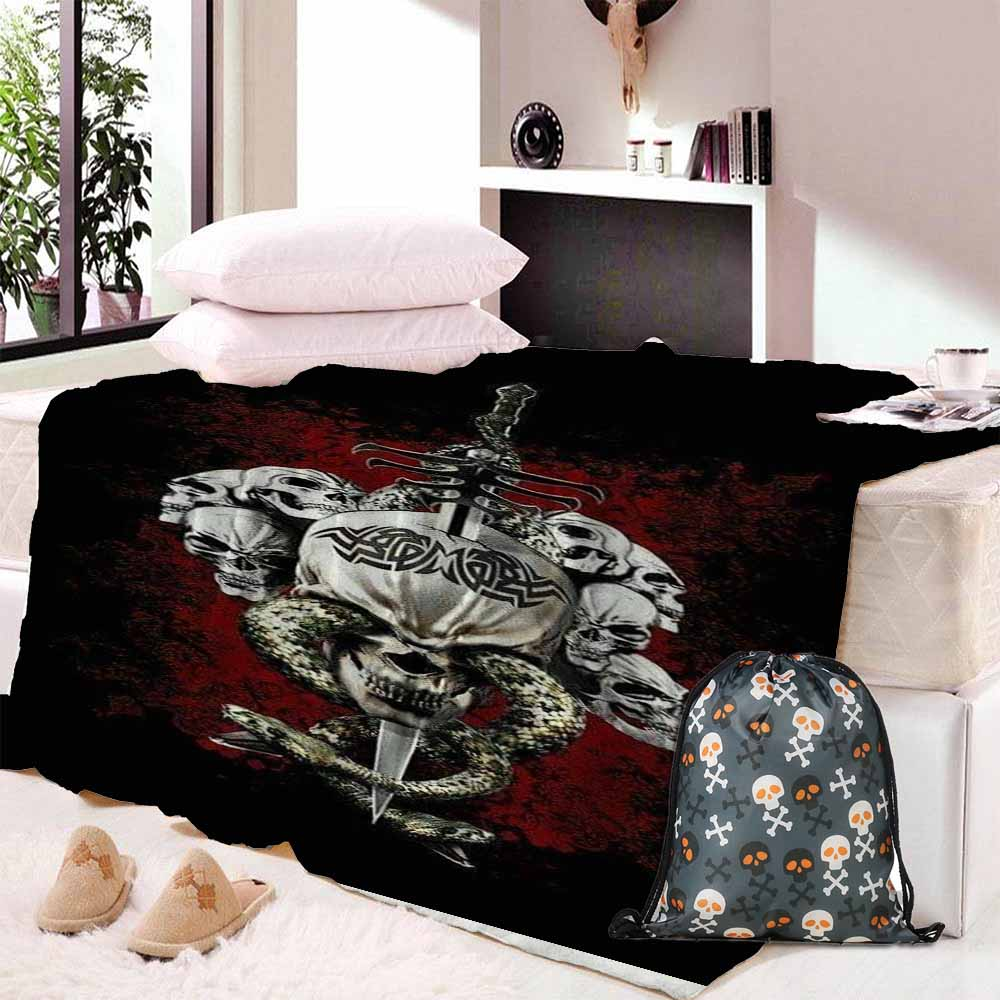 Beauty And Skull Flannel Blanket Super Soft Short Plush Coral Fleece For Beds Warm Sheets Sofa Cover 150x200