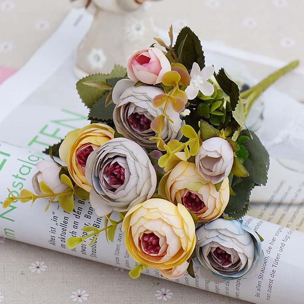 10 голов/1 Набор шелковых чайных роз, букет невесты для рождества, дома, свадьбы, Нового года, украшения, искусственные цветы - Цвет: yellow
