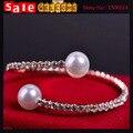 Statement  Gold Plated Big Large Full Imitation Diamond Crystal Rhinestone Bangle Bracelets Cuff With Double Imitation Pearl