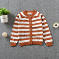 Autumn Winter New Korean Style 2017 Toddler Kids Striped Knitted O-neck Long Sleeve Single Breasted Casual Fashion Sweaters