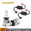 Auxmart 72W/Set COB H7 Car LED Headlight Single Beam Fog Light 6500K Error Free Canbus Warning Canceller For Toyota Nissan Honda