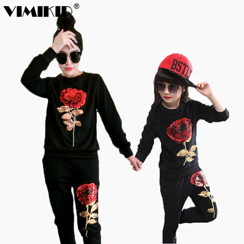 New Winter Style Family Matching Outfits Mother And Daughter Long Sleeve Rose Floral Sweatshirt+Pants 2Pcs Suit K1