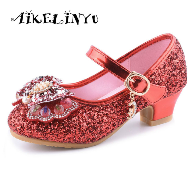 0fc22075a8 US $15.99 40% OFF 2019 Spring Girl High heeled Shoes Children Fashion  Princess Leather Shoes Girl Crystal school Shoes Girls Party Wedding  Shoes-in ...