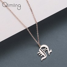 Old English 26 Letters Pendant Necklace for Women Charm Jewelry A B C D E F G H I J K L M N O P Q R S T U V W X Y Z(China)