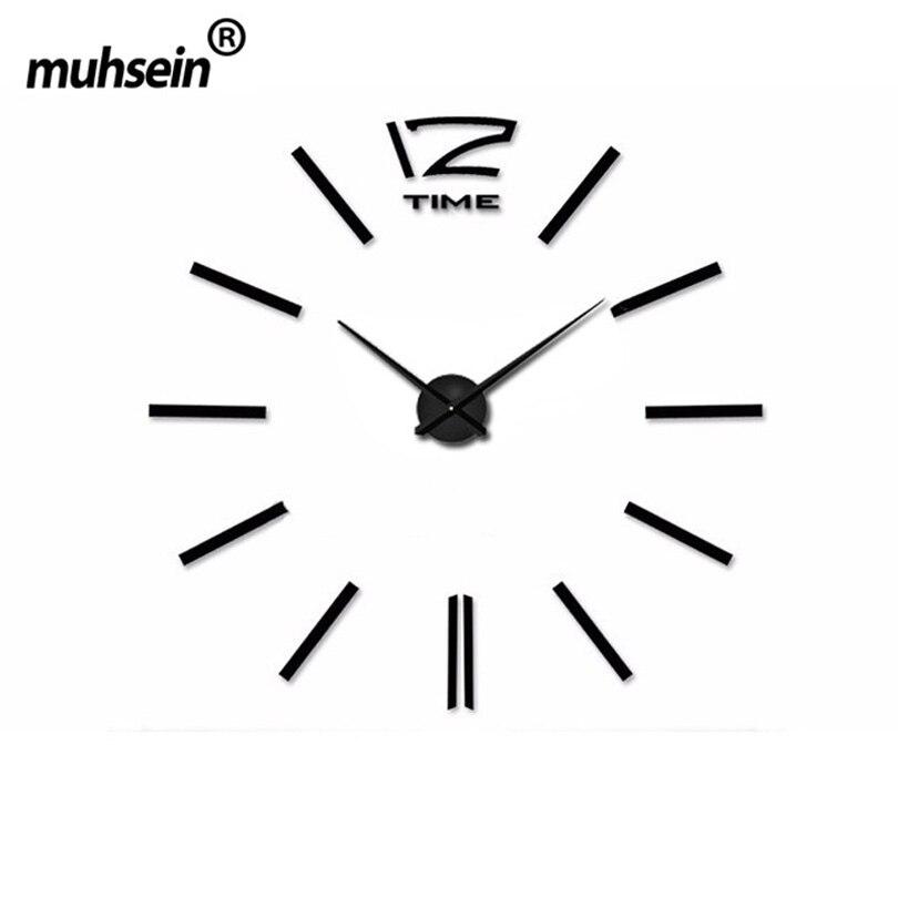 2019 muhsein décoration de la maison grand miroir horloge murale Design moderne grande taille horloge murale diy mur autocollant horloge Unique cadeau