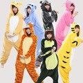 Женщины Kigurumi Единорог Пижамы устанавливает Пикачу Tiger Cat Унисекс Мужские Фланель С Капюшоном Пижамы Косплей Костюм Животных Onesies Пижамы