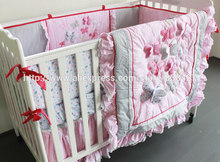 Embroidered 3D Pink Butterfly Lace Ups Free 7 Pieces Baby Crib Cot Bedding Set Quilt Sheet Bumper Bed Skirt Included(China)
