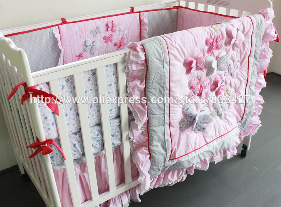 Embroidered 3D Pink Butterfly Lace Ups Free 7 Pieces Baby Crib Cot Bedding Set Quilt Sheet