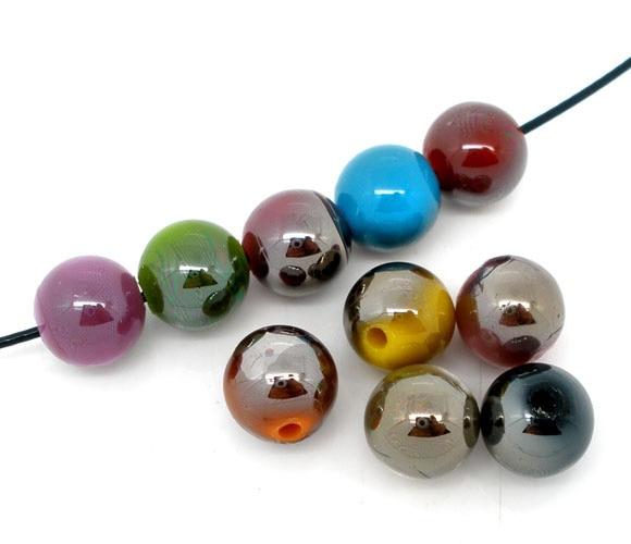Акриловые бусины шариковые смешанные жемчужные цвета покрытые около 10 мм (3/8 «) Диаметр, отверстие: мм около 1,7 мм, 25 шт.