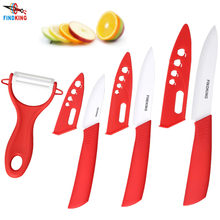 "Beauty Gifts Zirconia Ceramic kitchen knife set 3"" 4"" 5"" inch+peeler+Covers(China)"