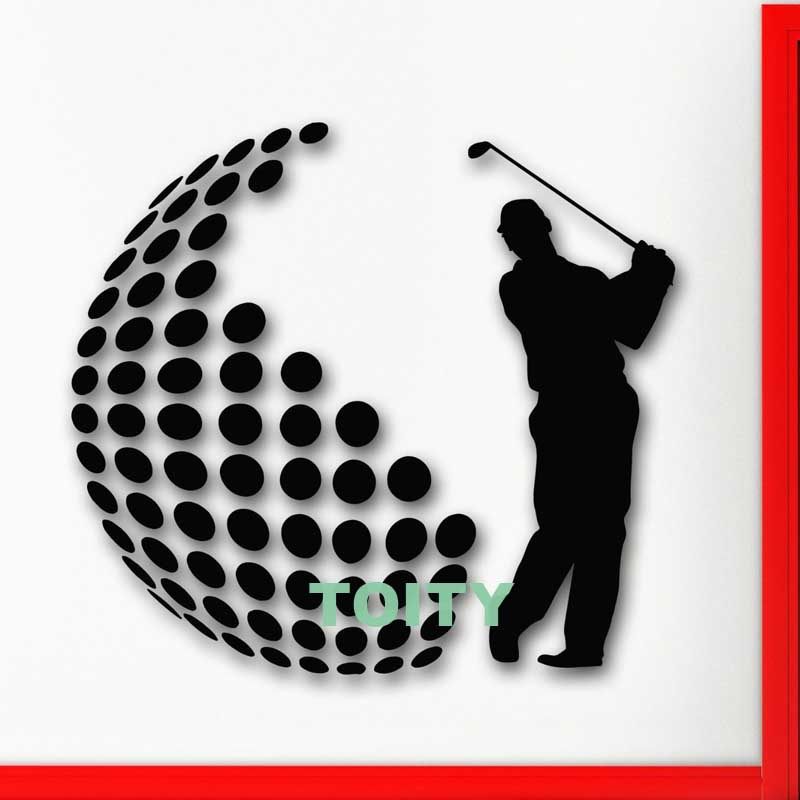 Wall Stickers Vinyl Decal Golf English Sports For Living Room Decor Interior Decoration Art Mural H57cm x W62cm/22.5x 24.5