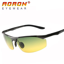 Aoron Aluminum Magnesium Alloy Men Brand Polarized Driving Sunglasses Glasses Day and Night Vision Goggles
