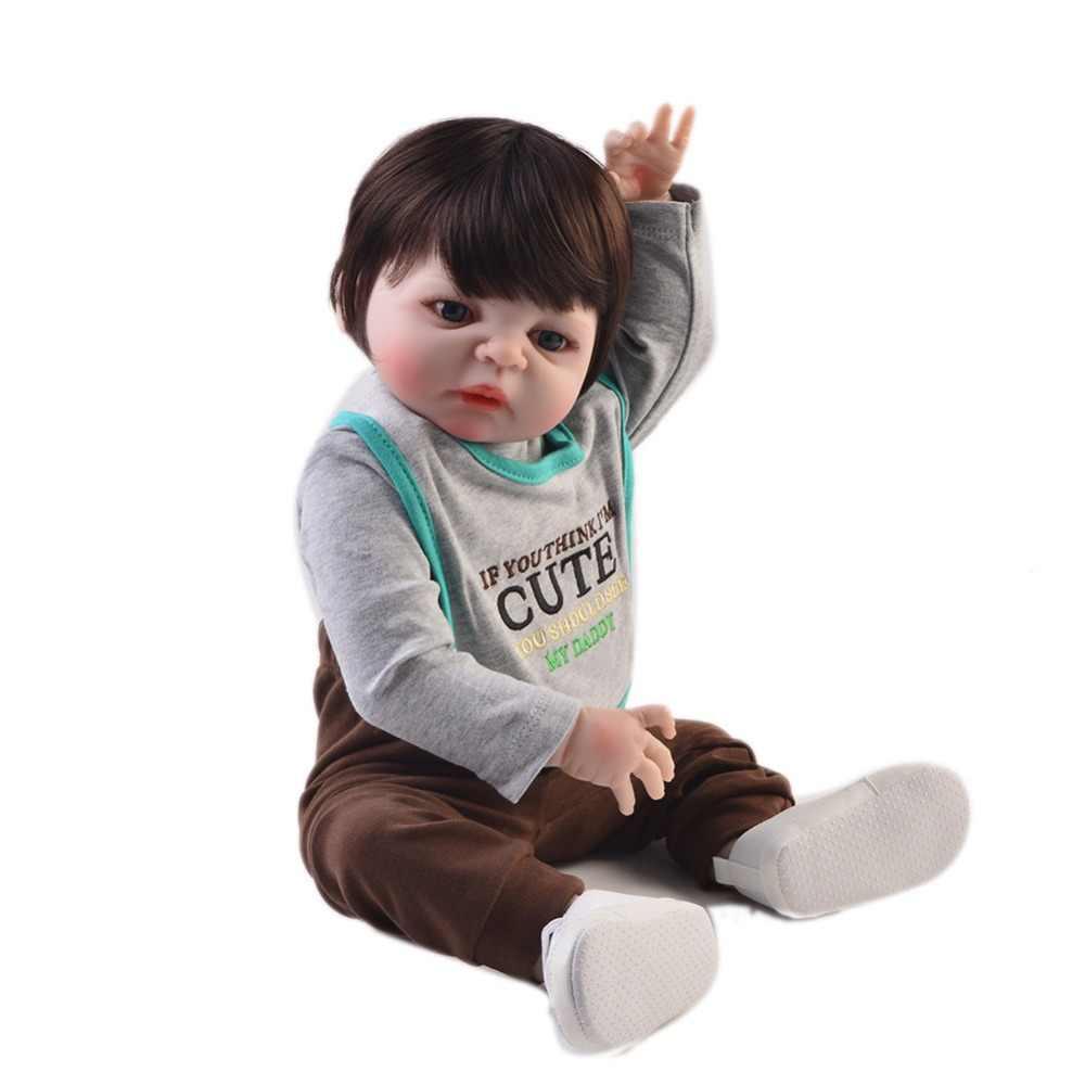 KEIUMI похожая на настоящую Гавайская гитара 23 дюймов Кукла Reborn детские виниловые куклы 57 см полный корпус силиконовый Модный чехол-сумка Reborn для маленьких мальчиков подружки для детей подарок на день рождения