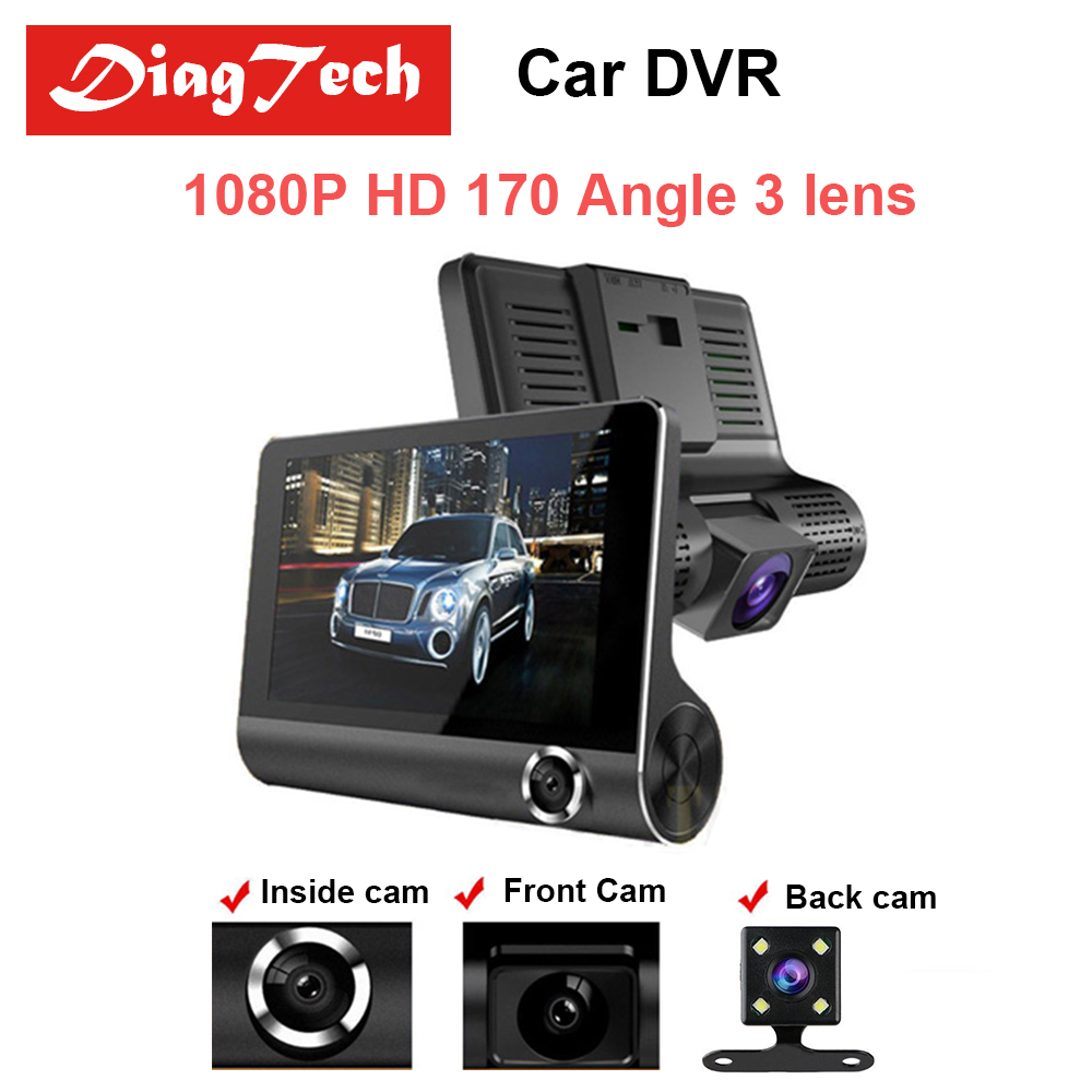 цена на Gryan Car DVR Car Rearview Mirror 170 Degree 3 Lens 1080P Full HD Full Video Registrator Recorder Camera Night Vision Dash Cam