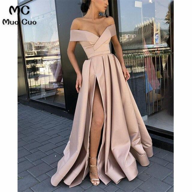 7fa53b50b3 2018 Dusty Pink Off Shoulder Prom Dresses Long V-Neck Satin Short Sleeve  Front Slit Vestido Longo Formal Evening Party Dress