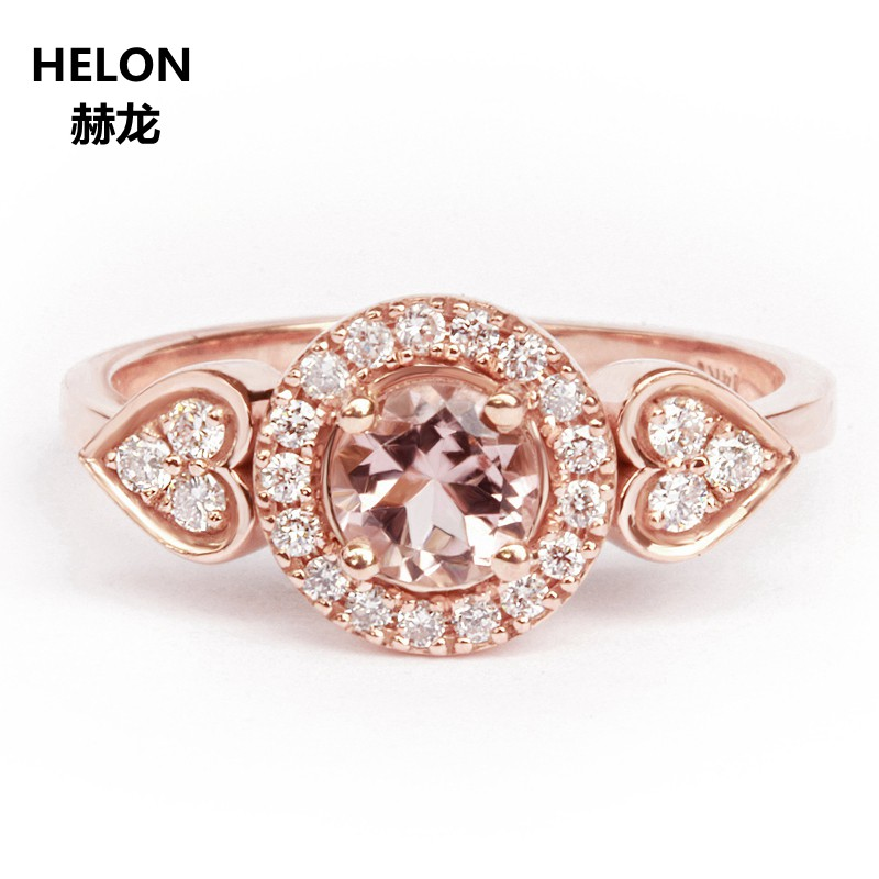 0.8CT Natural Diamonds Round Morganite Engagement Wedding Ring Solid 14k Rose Gold Classic Women Anniversary Party Fine Jewelry0.8CT Natural Diamonds Round Morganite Engagement Wedding Ring Solid 14k Rose Gold Classic Women Anniversary Party Fine Jewelry