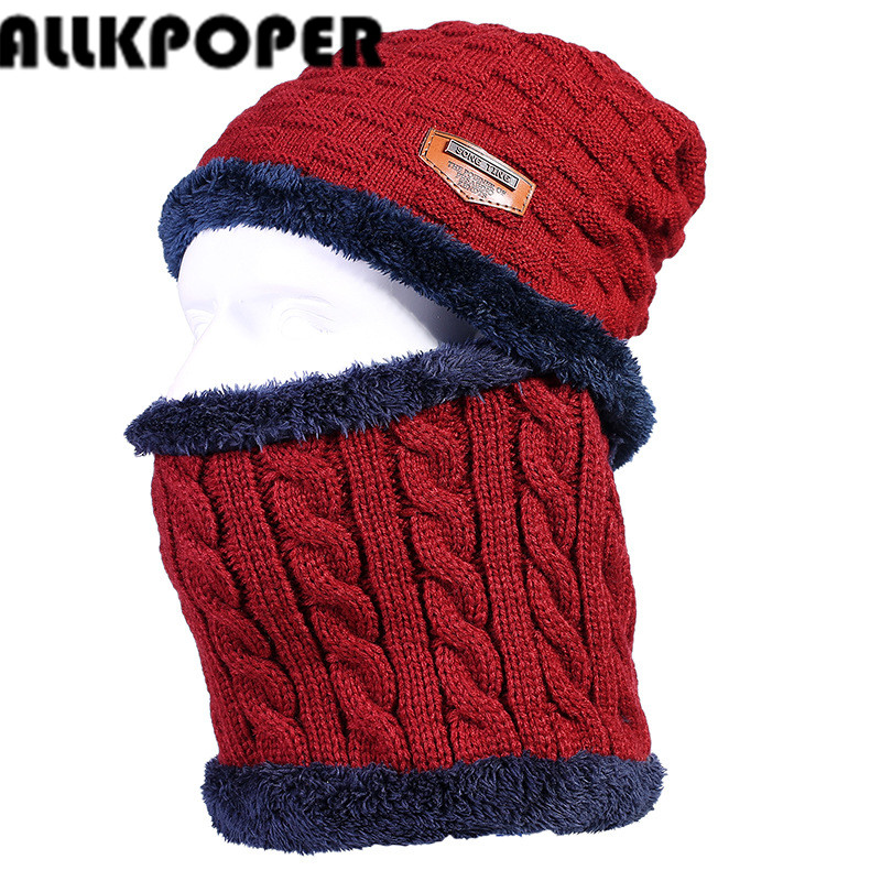 ALLKPOPER Winter Beanie Women Men Fashion Solid Fur Wool Lining Thick Warm Knit Winter Hat Cap Scarf Sets Skullies Bonnet autumn winter male hat plus velvet thick knitted wool hat scarf set men warm beanie fashion snow earflaps plush collar cap sets