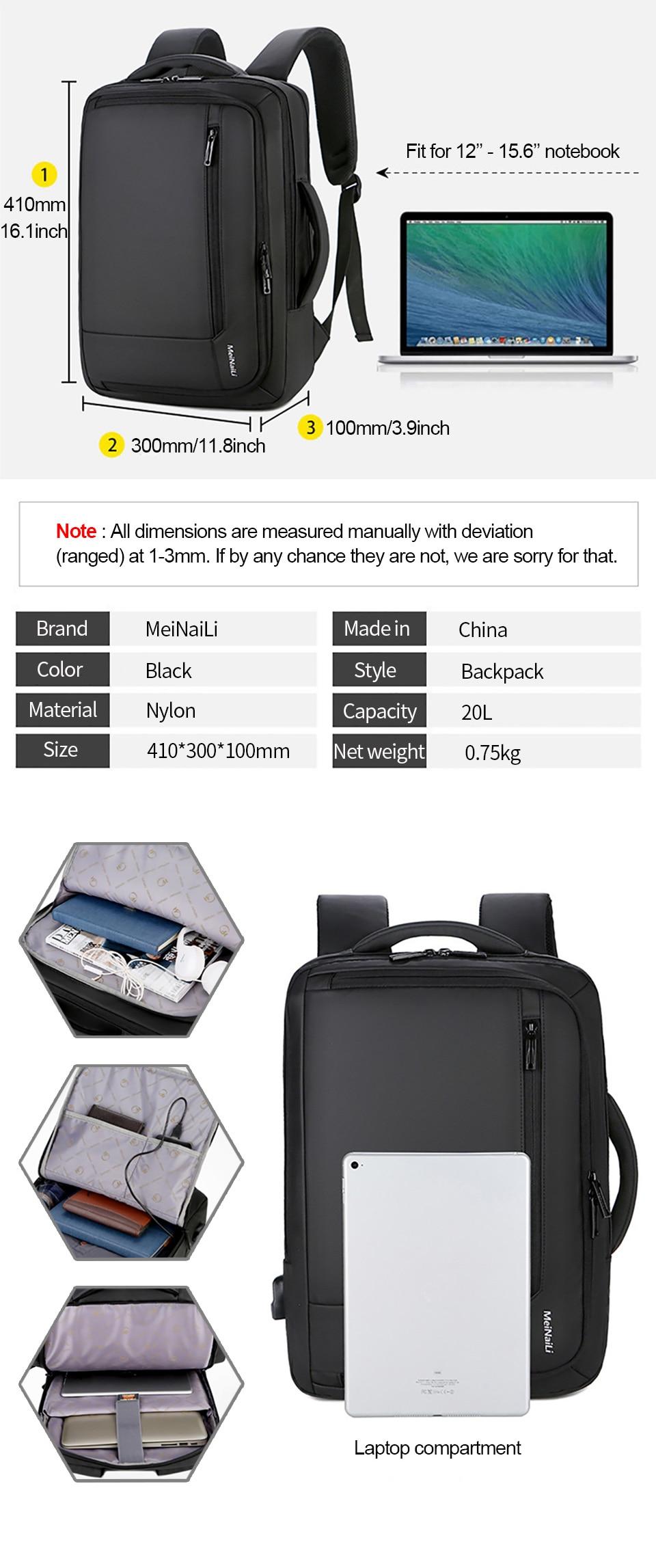 3 Multifunction USB Backpack Man Bag 15.6inch Laptop Backpacks Travel Bags Large Capacity Luggage Backpacking Waterproof Notebook
