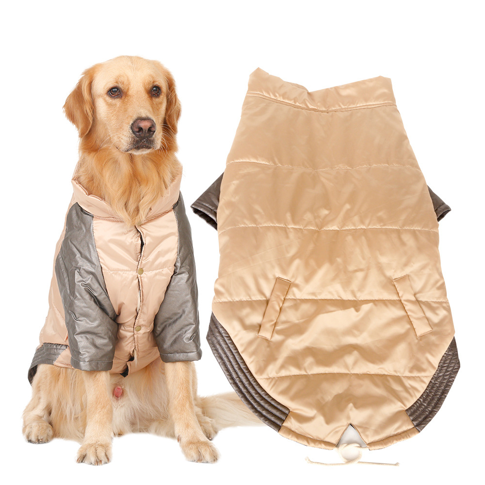 Cool Winter Warm Big Large Dog Hoodie Vest Clothing For Pet Golden