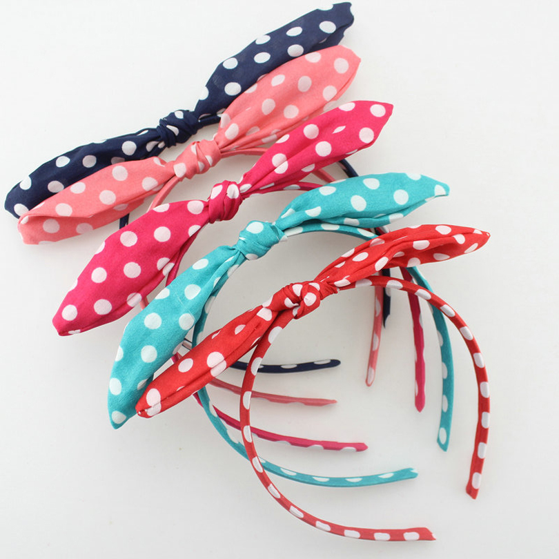 Lovely Dot Rabbit Bunny Ear Ribbon Metal Wire Headband Scarf Hair Head Band Bow adult hair accessories women bunny rabbit ear ribbon headwear korean lips hairband metal wire scarf headband hair band accessories 6 colors 1pcs