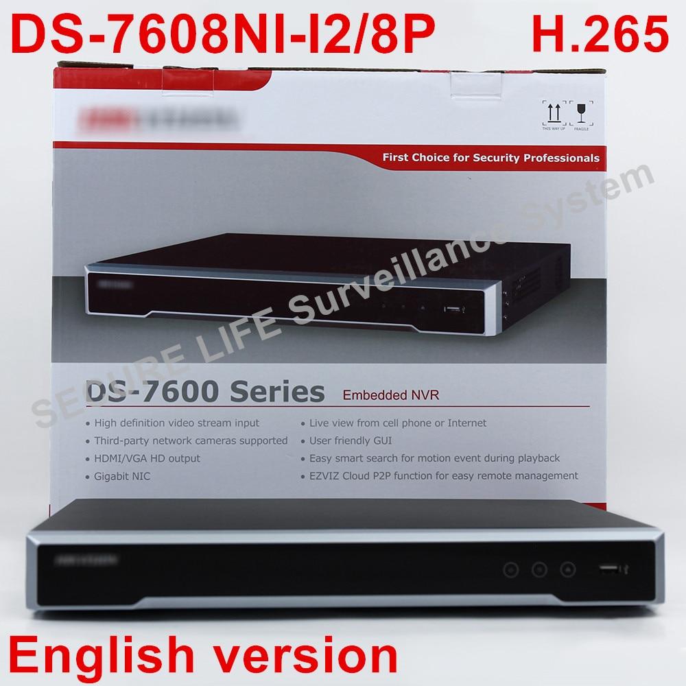 In magazzino DS-7608NI-I2/8 p Inglese versione 2 SATA 8 porte POE 8ch NVR supporto di terze parti della macchina fotografica, plug & play NVR POE 8ch H.265