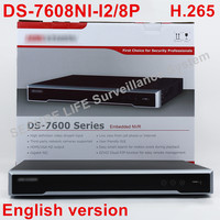 In stock DS 7608NI I2/8P English version 2SATA 8 POE ports 8ch NVR supporting third party camera, plug & play NVR POE 8ch H.265