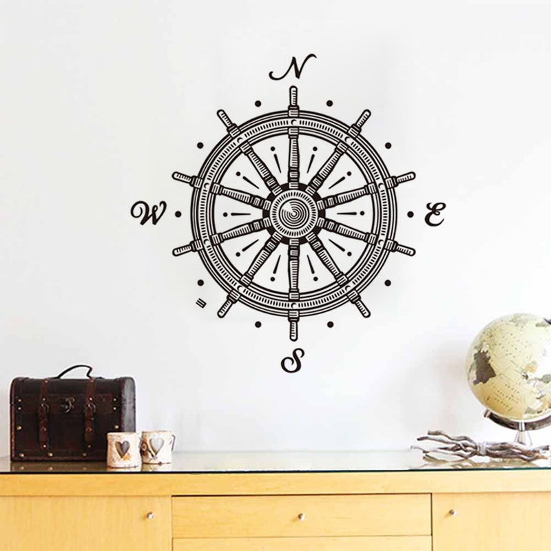 Funny N.W.E.S. Wheel Vinyl Wall Stickers For Kids Room Nautical Wheel Compass Rose Art M ...