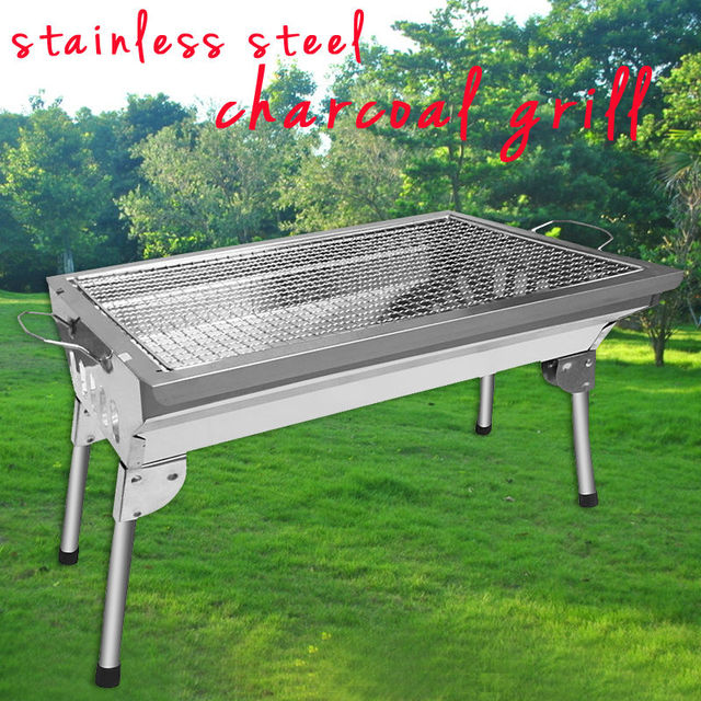 Barbecue Oven Portable Stainless Steel Charcoal Grill BBQ Household BBQ  Folding Outdoor Camping Barbecue Carbon Baking