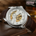 Automatic Self-Wind Men's Brand Watches Original Black Leather Strap Material Man Business Watches Top Brand Gift Watch A024