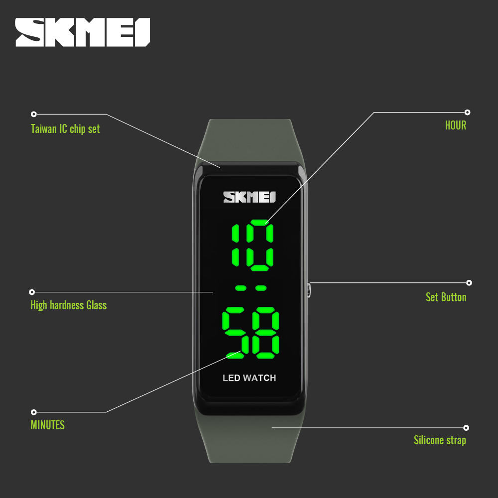 91032a393 SKMEI Brand Men Women Sports Watches Girls Simple Design LED Digital  Wristwatches 30M Water Resistant Ladies Outdoor Wrist Watch-in Women's  Watches from ...