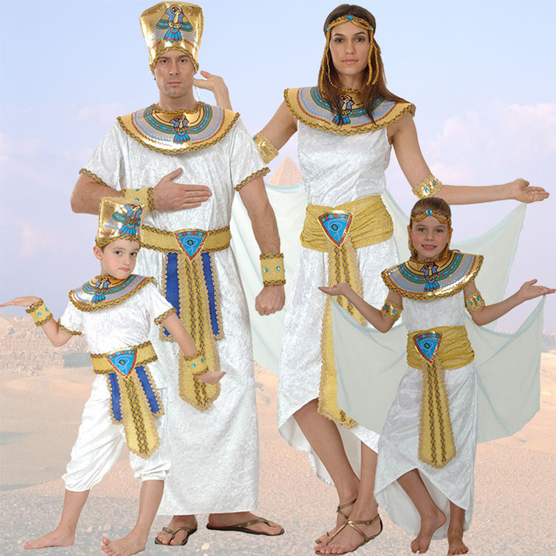 Egypt Queen Costumes Princess Royal Golden Women Menn Costume Masquerade tema Party voksen halloween cosplay barneklær