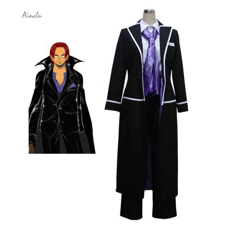 Ainclu Customized Top Selling Black One Piece Shanks Cosplay Costumes Red Hair Shanks Halloween Cosplay Costumes Free Shipping