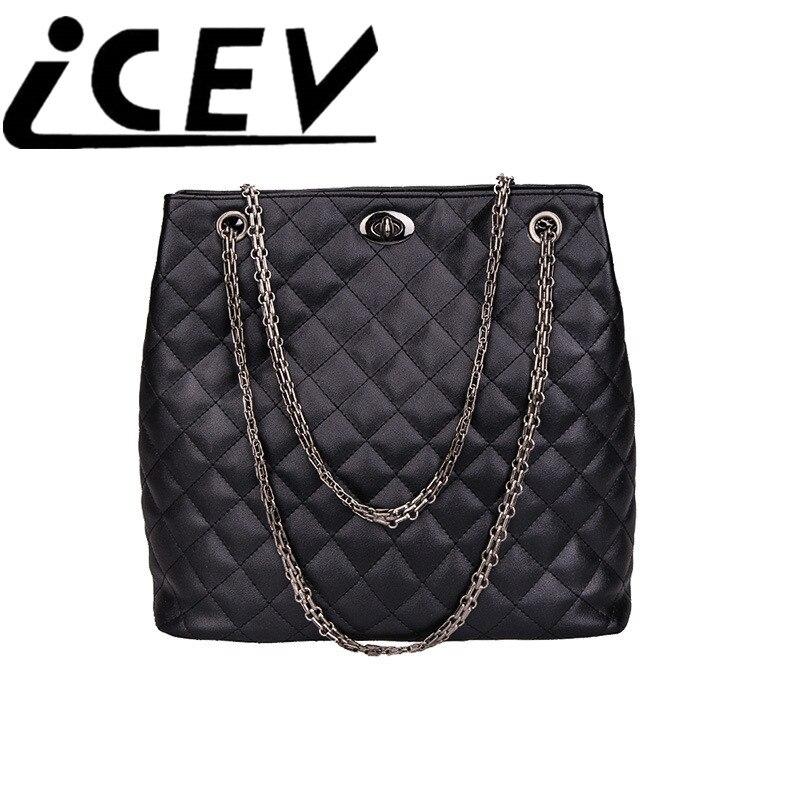 ФОТО 2016 Fashion Woman Big Bag Ladies Luxury Handbag Women Plaid Chain Shoulder Bags Large Quilted Shopping Bag Black Bolsos Mujer