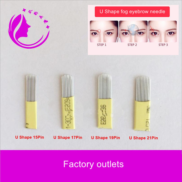 US $9.99 |50pcs 21 Pin U Shape double row of eyebrows Tattoo needles  Microblading Needles Fog eyebrows blade Can be mixed 15/17/19Pin send on ...