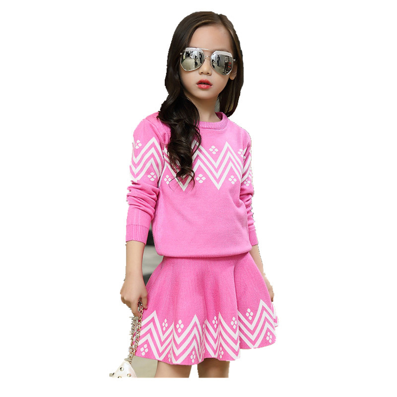 School Girls Brand Cardigan Clothes Sets Knitted Sweater + Wave Skirt 2Pcs Winter Autumn Warm Children Clothing Kids Outfits W75 boys girls winter sweater kids knitted pullover sweater thicken warm kids cardigan sweater double breasted children outwear 2 5t