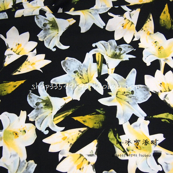 eb8f27cafa1f 100X140cm Fashion Week Casablanca White Lily Flowers Black Cotton Fabric  for Woman Summer Dresses Skirts Shirts DIY-AFCK814