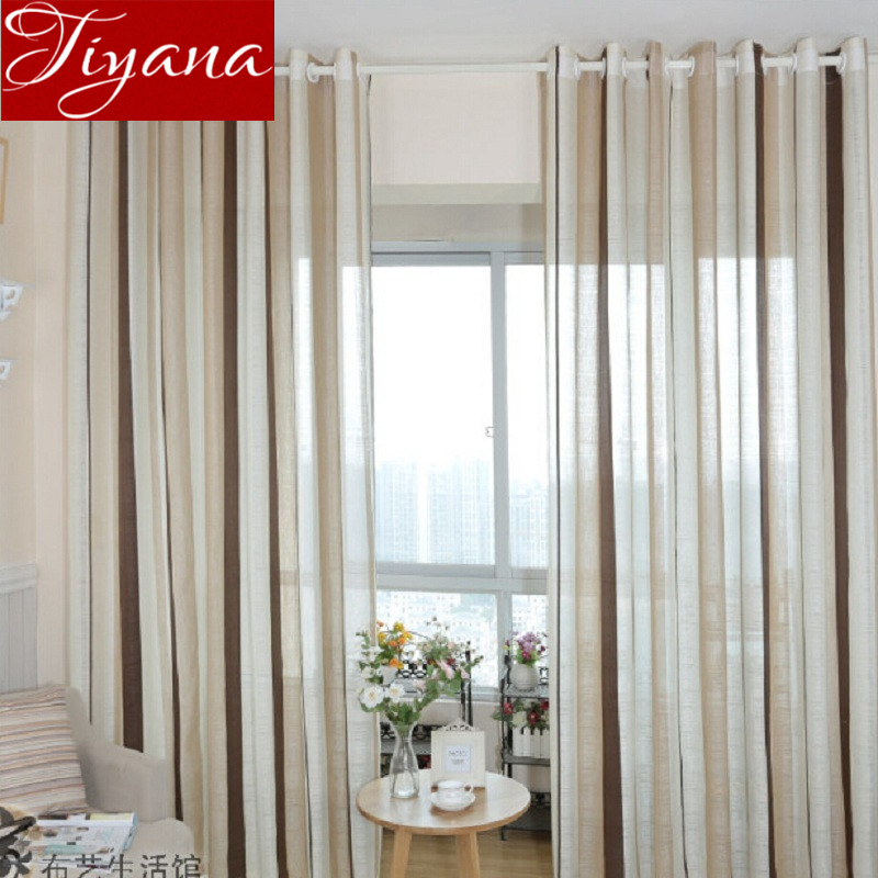 Striped Voile font b Curtains b font Window Screen Yarn Pure Sheer Modern Simple Living Room