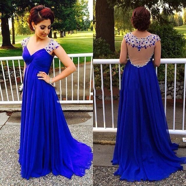 12e4d320e4a21e 2016 Royal Blue Long Elegant Evening Dresses With Crystals Chiffon Party  Dress Beautiful Empire Pregnant Women