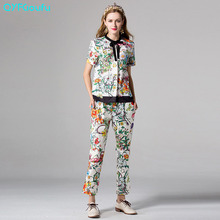 2017 Runway Women's Two Piece Set Short Sleeves Bow Tops And Blouses + Summer Flower Floral Print Pants Pantalones Mujer