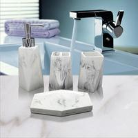 4 Pieces Resin Bathroom Accessories Sets Tooth Brush Holder Soap Dish Dispenser Cup Lotion Bottle Marble Pattern