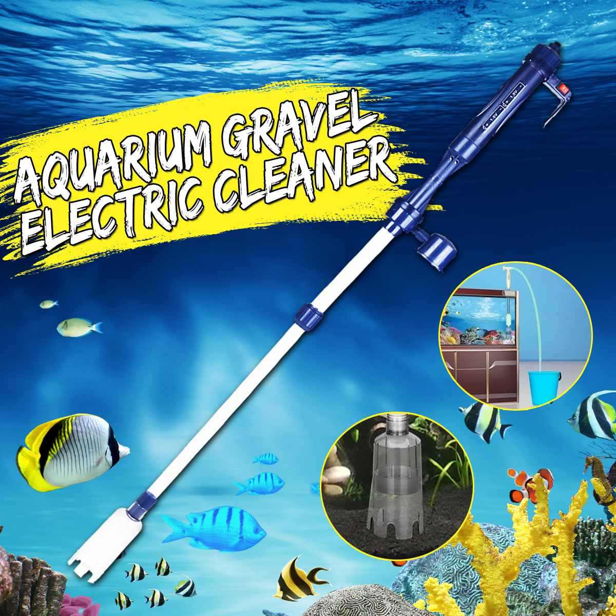 Automatic Electric Aquarium Gravel Cleaner Water Filter Washer Siphon Vacuum Water Pump for Fish Tank Aquarium Cleaner EU 220V